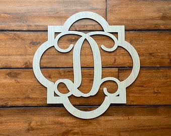 "24"" Wood Quatrefoil Single letter Curly Monogram Laser Cutout Shape Custom Initial Unfinished"