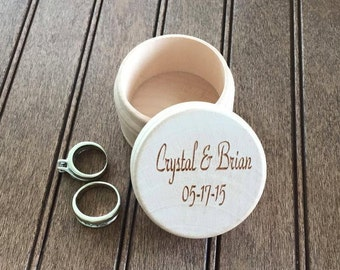 Custom Engraved Wood Ring Box Wedding Anniversary