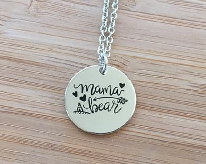Mama Bear Stamped Round Disc Necklace Silver Color Adjustable Chain Mother's Day Gift Heart Arrow