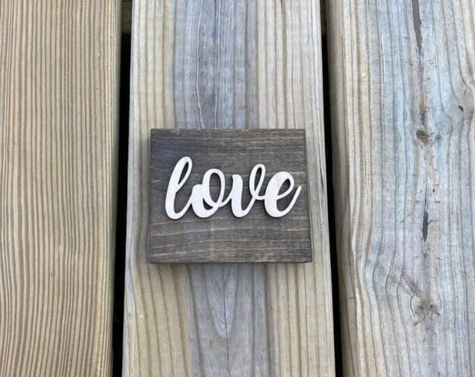 "Mini 4x3.5"" Cursive Love Simple Shelf Sitter Sign Handmade 3d Laser Cut Wood Stained"