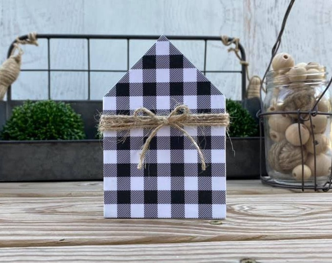 "Mini 5x3.5"" White Black Plaid Wood House Jute Simple Shelf Sitter Sign Handmade Tiered Tray Decor Christmas Fall"