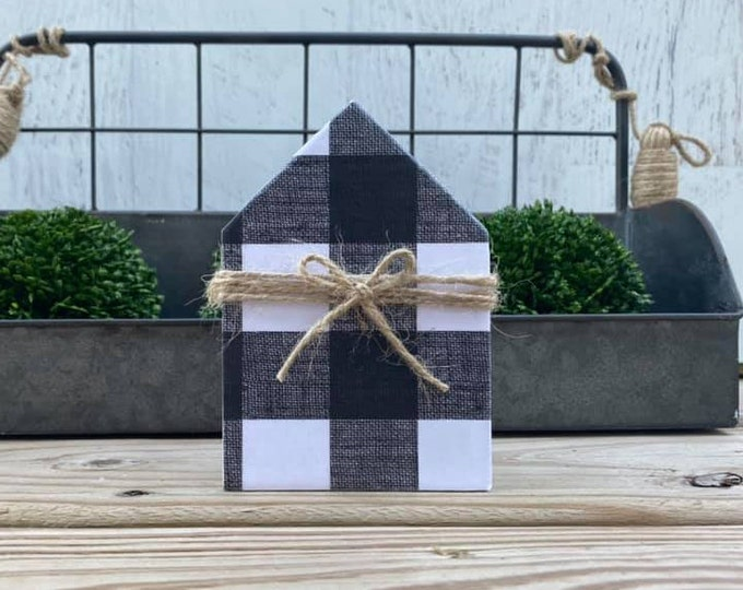 "Mini 5x3.5"" Buffalo Plaid White Black Wood House Jute Simple Shelf Sitter Sign Handmade Tiered Tray Decor Christmas"