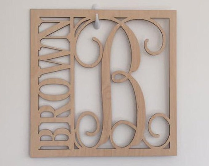 """18"""" Wood Square Monogram Initial Last Name Unfinished"""