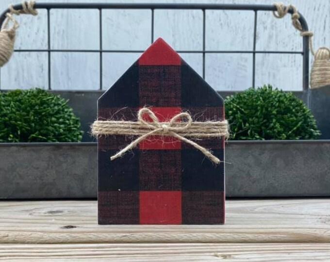 "Mini 5x3.5"" Buffalo Plaid Red Black Wood House Jute Simple Shelf Sitter Sign Handmade Tiered Tray Decor Christmas"