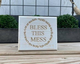 """Mini 4x3.5"""" Bless This Mess Engraved White Distressed Simple Shelf Sitter Sign Handmade Tiered Tray Decor"""