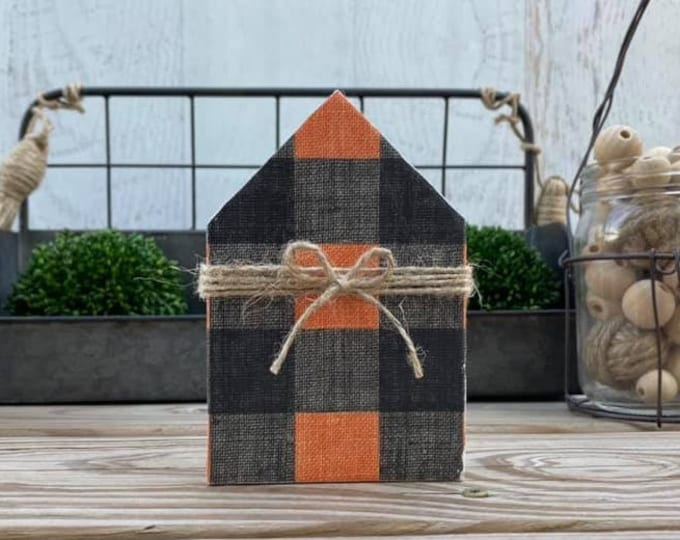 "Mini 5x3.5"" Buffalo Plaid Orange Black Wood House Jute Simple Shelf Sitter Sign Handmade Tiered Tray Decor Halloween"