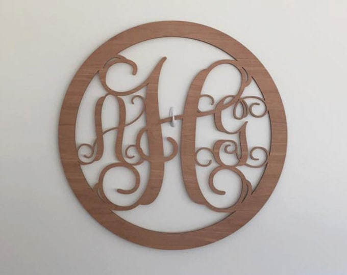 "24"" Wood 3 letter Curly Monogram Laser Cutout Shape Custom Initials Circle Unfinished"