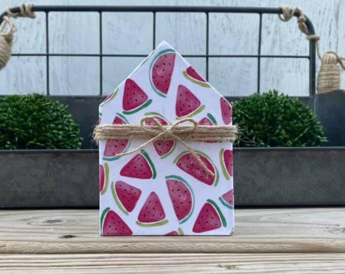 "Mini 5x3.5"" Watermelon Wood House Jute Simple Shelf Sitter Sign Handmade Tiered Tray Decor Summer Time"