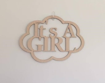 """24"""" Wood It's A Girl Laser Cutout Pregnancy Birth Announcement Nursery New Baby Unfinished"""