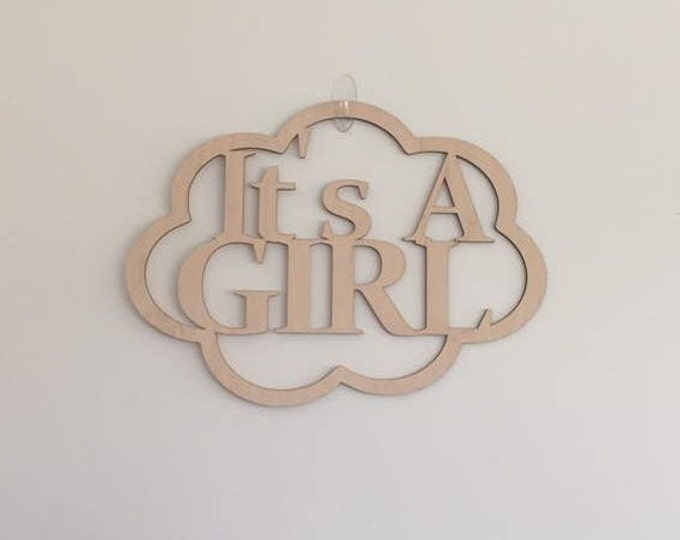 "24"" Wood It's A Girl Laser Cutout Pregnancy Birth Announcement Nursery New Baby Cloud Shape Unfinished"