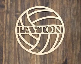 "24"" Wood Volleyball Last Name Team Name Laser Cutout Sport Shape Unfinished"