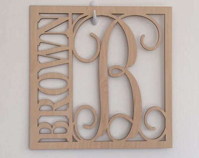 """24"""" Wood Square Monogram Initial Last Name Unfinished"""