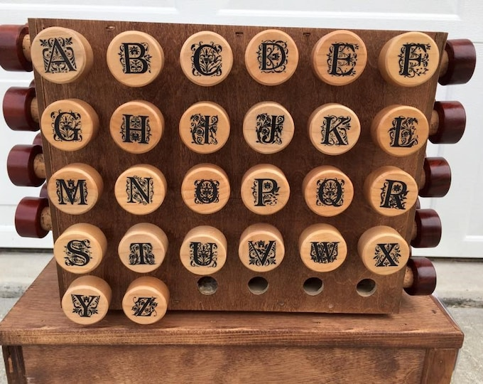 Laser Engraved FANCY single Black letter Maple Wood Wine Bottle Stoppers