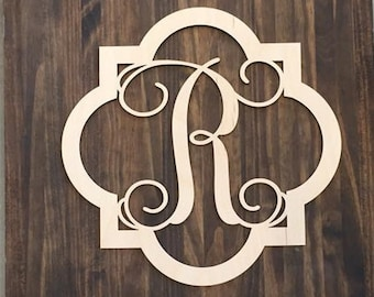 "18"" Wood Quatrefoil Single letter Curly Monogram Laser Cutout Shape Custom Initial Unfinished"