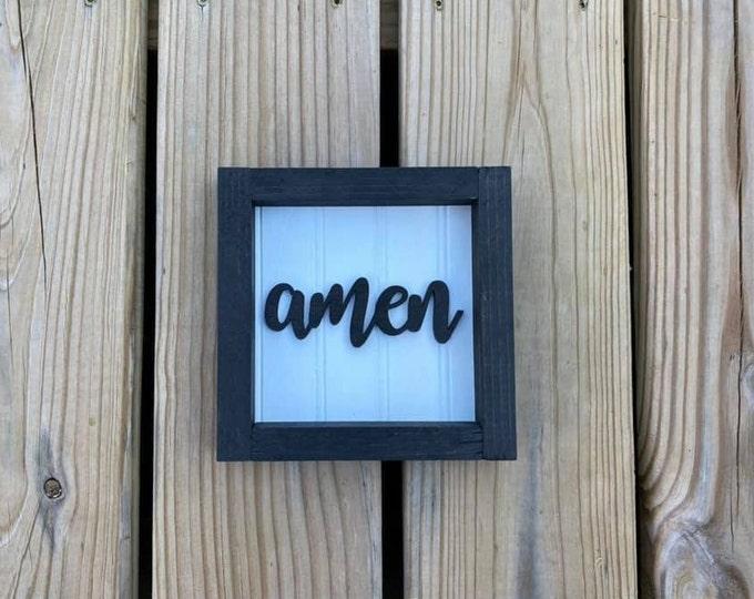 "Black Small 6.5x6.5"" Cursive Amen Framed Shelf Sitter Sign Handmade 3d Laser Cut Bead board"
