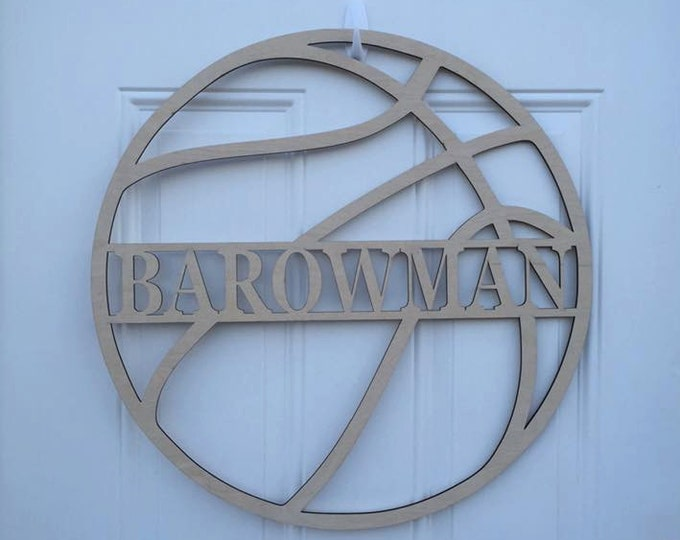 "12"" Wood Basketball Last Name Team Name Laser Cutout Sport Shape Unfinished"