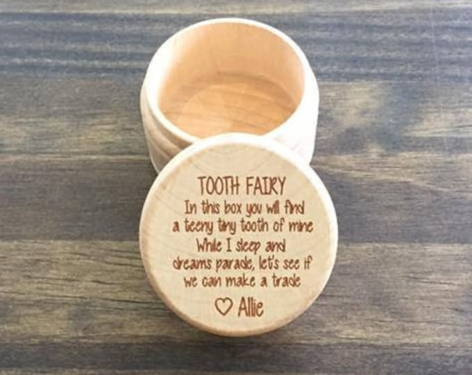 Personalized Wood Tooth Fairy Box Laser Engraved Kids Toothfairy