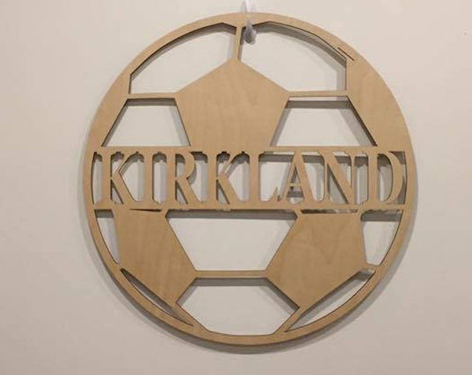 "24"" Wood Soccer Ball Last Name Team Name Laser Cutout Sport Shape Unfinished"