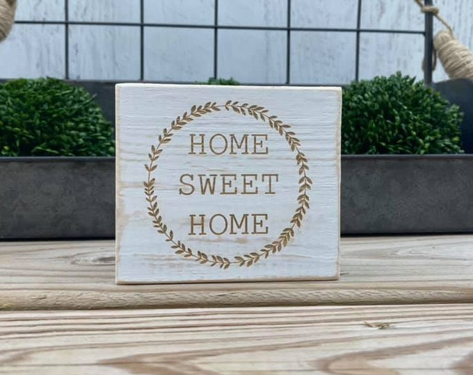 """Mini 4x3.5"""" Home Sweet Home White Distressed Simple Shelf Sitter Sign Handmade Tiered Tray Decor"""