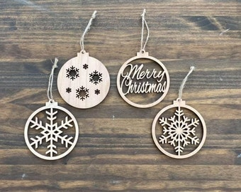 """4.5"""" Set of 4 Laser Cut Wood Christmas Ornaments Snowflake Merry Christmas Theme Unfinished"""