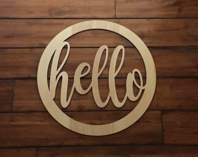 "18"" Wood hello cursive word Circle Shape Laser Cutout Custom Unfinished"