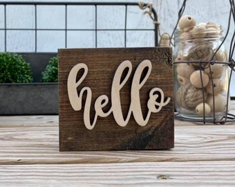 """Mini 4x3.5"""" Cursive Hello Simple Shelf Sitter Sign Handmade 3d Laser Cut Wood Stained Tiered Tray Decor"""