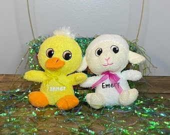 Personalized Easter Basket Animals Stuffers White Yellow Lamb Chicken Custom Plush