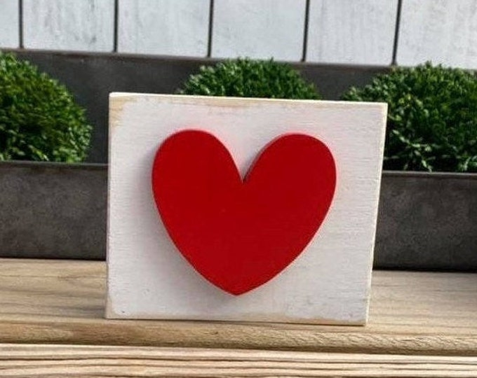 """Mini 4x3.5"""" Red Heart 3d White Distressed Simple Shelf Sitter Sign Handmade Tiered Tray Love Valentines Day February 14"""