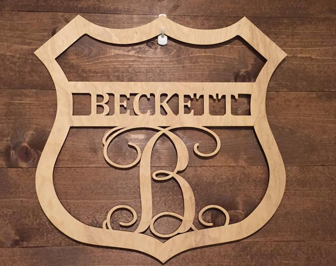 "18"" Wood Police Badge Monogram Laser Cutout Shape Unfinished"