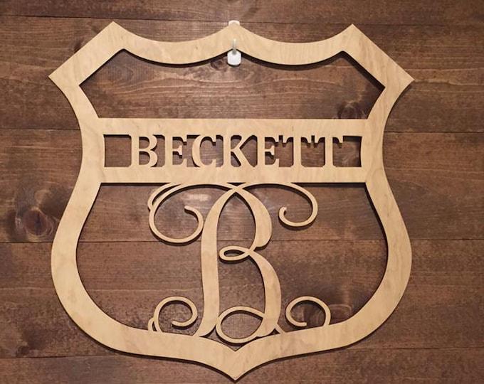 """18"""" Wood Police Badge Monogram Laser Cutout Shape Unfinished"""