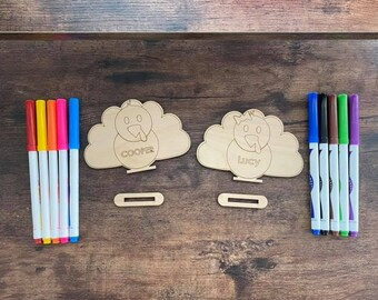 DIY Wood Turkey Coloring Kit Personalized Thanksgiving Fall Boy Girl Bow Kid Activity Laser Cut Stand Up Design Place Setting Keepsake