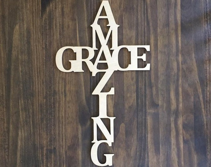 "Laser Cut Wood Amazing Grace 18"" tall Unfinished"