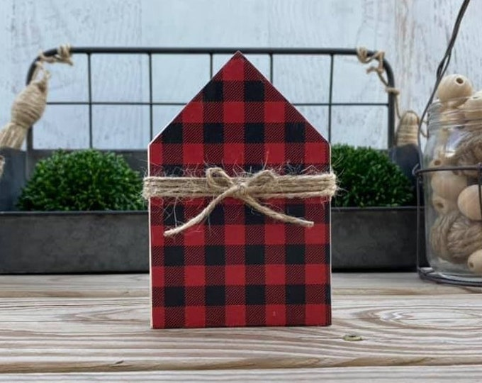 "Mini 5x3.5"" Red Black Plaid Wood House Jute Simple Shelf Sitter Sign Handmade Tiered Tray Decor Christmas"