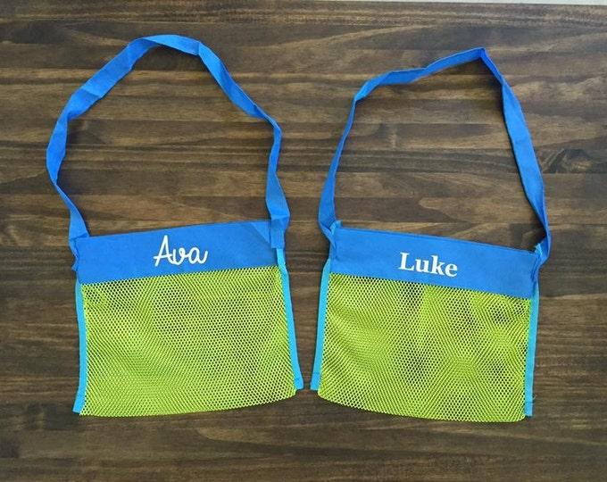 Kids Personalized Mesh Beach Bag Cursive or Print Name