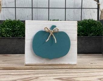 "Mini 4x3.5"" Teal Pumpkin Fall 3d White Distressed Simple Shelf Sitter Sign Handmade Tiered Tray Decor Jute"
