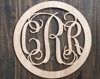"12"" Wood 3 letter Curly Monogram Laser Cutout Shape Custom Initials Circle Unfinished"
