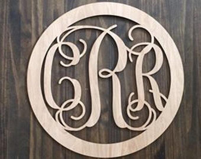 "12"" Wood 3 letter Curly Monogram Laser Cutout Shape Custom Initials Circle Unfinished"