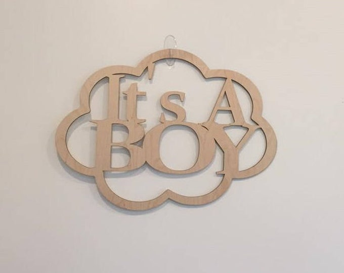 """18"""" Wood It's A Boy Laser Cutout Pregnancy Birth Announcement Nursery New Baby Cloud Shape Unfinished"""