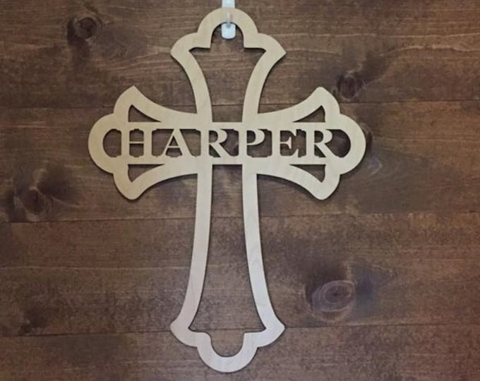 "24"" Wood Cross Custom Fancy Shape Last Name Laser Cutout Unfinished"