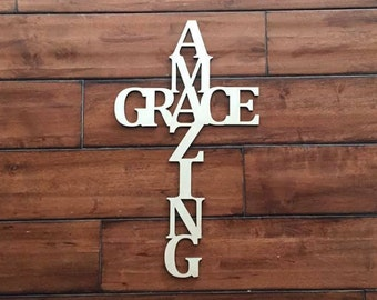 "Laser Cut Wood Amazing Grace Word 18"" tall Cross Unfinished"