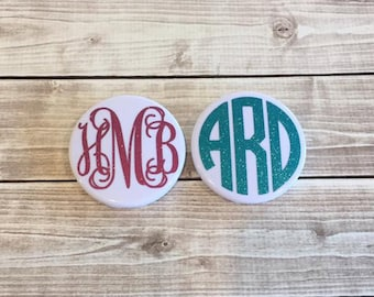Glitter Monogrammed Round Mirror Compact Curly Circle