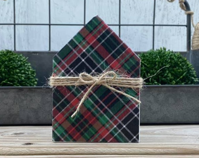 "Mini 5x3.5"" Christmas Plaid Red Green White Black Wood House Jute Simple Shelf Sitter Sign Handmade Tiered Tray Decor"