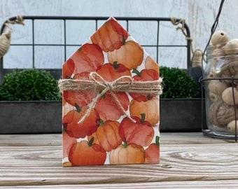 "Mini 5x3.5"" Watercolor Pumpkin Wood House Jute Simple Shelf Sitter Sign Handmade Tiered Tray Decor Fall Halloween"