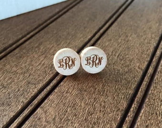 "Curly Monogrammed Wood 1/2"" Earring Set- Laser Engraved"