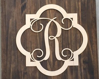 "24"" Wood Quatrefoil Single letter Curly Monogram Laser Cutout Shape Custom Initial Unfinished"