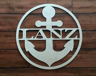 "18"" Wood Anchor Circle Shape Last Name Family Laser Cutout Custom Unfinished"