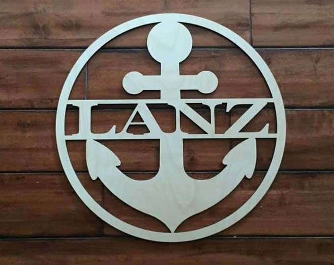 "18"" Wood Anchor Circle Shape Last Name Family Laser Cutout Custom Unfinished"