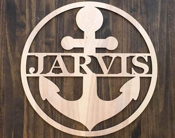 "12"" Wood Anchor Circle Shape Last Name Family Laser Cutout Custom Unfinished"