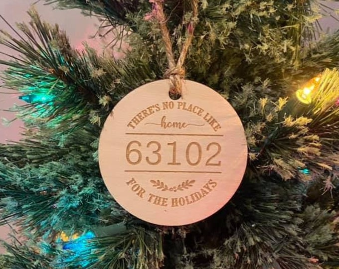 Custom Zip code First Home New House Wood Ornament Laser Engraved Natural Christmas Gift Wedding Anniversary Housewarming Personalized