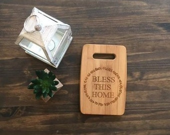"Medium Size 9x12"" Laser Engraved Bamboo Cutting & Serving Board Bless This Home Simple"